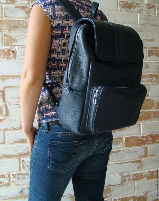 Рюкзаки ручной работы. Ярмарка Мастеров - ручная работа. Купить Синий кожаный рюкзак. Разные цвета. Индивидуальный пошив. Handmade.