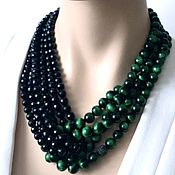 Украшения handmade. Livemaster - original item Hawkeye and black agate necklace. Handmade.