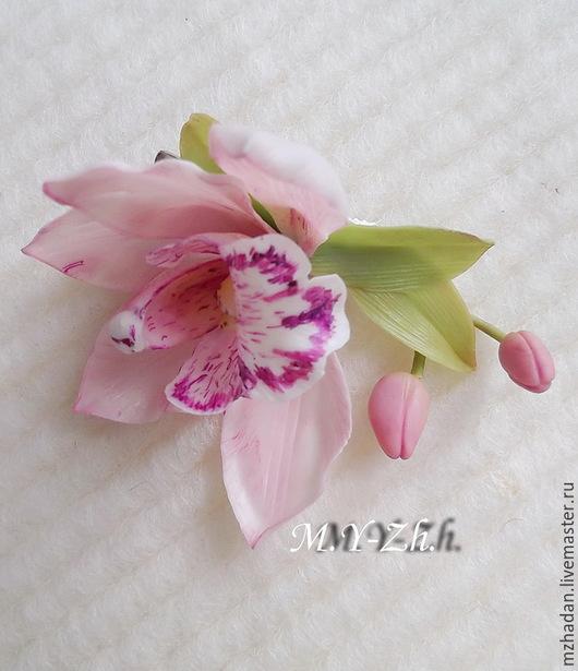 Заколка,заколка для волос,заколка с цветком орхидеи,заколка из полимерной глины, заколка ручной работы