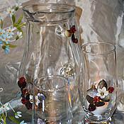 """Посуда ручной работы. Ярмарка Мастеров - ручная работа Кувшин и пара стаканов """"Земляничная поляна"""". Handmade."""