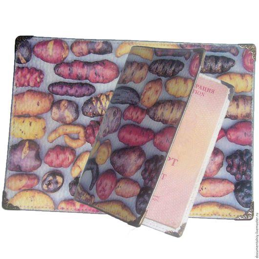 """Обложки ручной работы. Ярмарка Мастеров - ручная работа. Купить Обложка на паспорт, обложка для документов (кожа) """"Potatoes"""". Handmade. Комбинированный"""