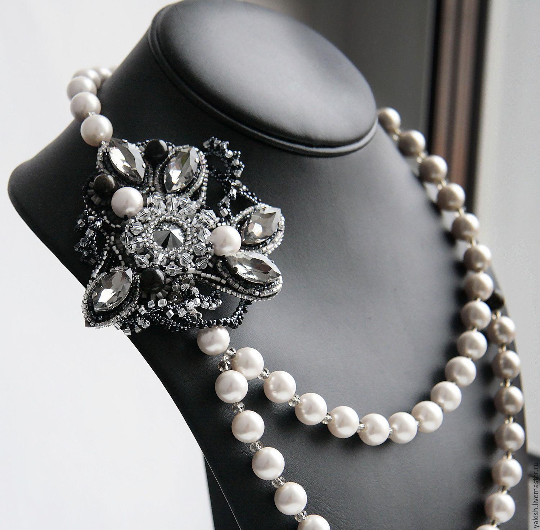 """Колье, бусы ручной работы. Ярмарка Мастеров - ручная работа. Купить Колье """"Gatsby's girl"""". Handmade. Дизайнерские украшения, контрасты"""