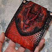 Субкультуры ручной работы. Ярмарка Мастеров - ручная работа Красный Дракон - кожаное портмоне . Кошелёк с Драконом. Handmade.