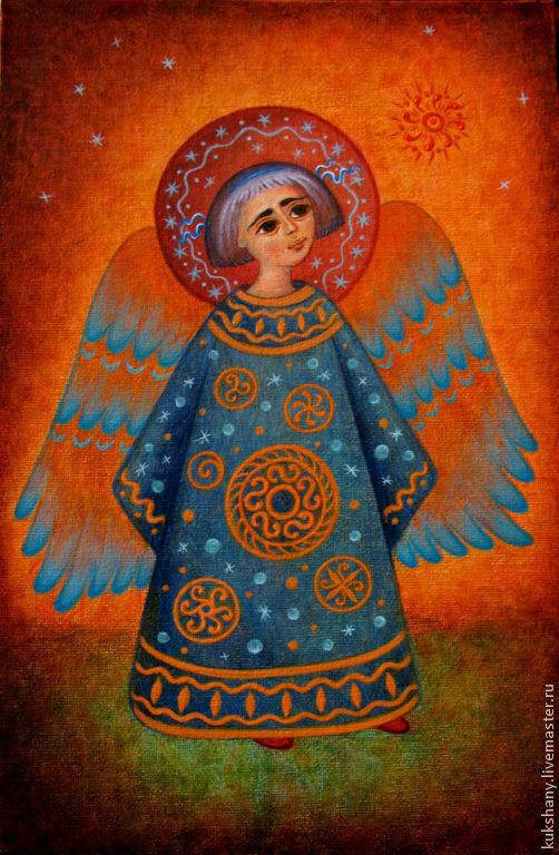 Символизм ручной работы. Ярмарка Мастеров - ручная работа. Купить Ангел Рождества. Handmade. Картина, рождество, оранжевый, рождественский ангел
