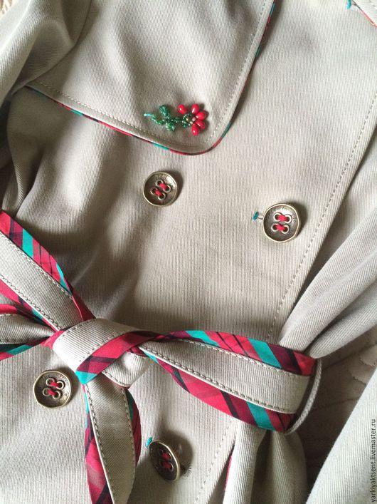 Одежда для девочек, ручной работы. Ярмарка Мастеров - ручная работа. Купить Плащ ПЛЩ 2055. Handmade. Бежевый, яркая клетка