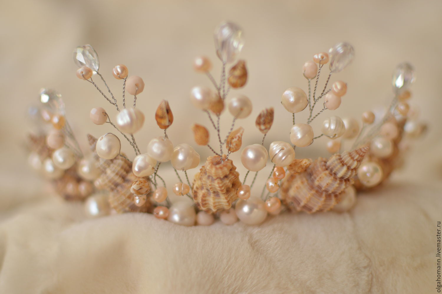 Buy Crown Tiara Made Of Shells And Pearls Ariel On Livemaster Online Shop