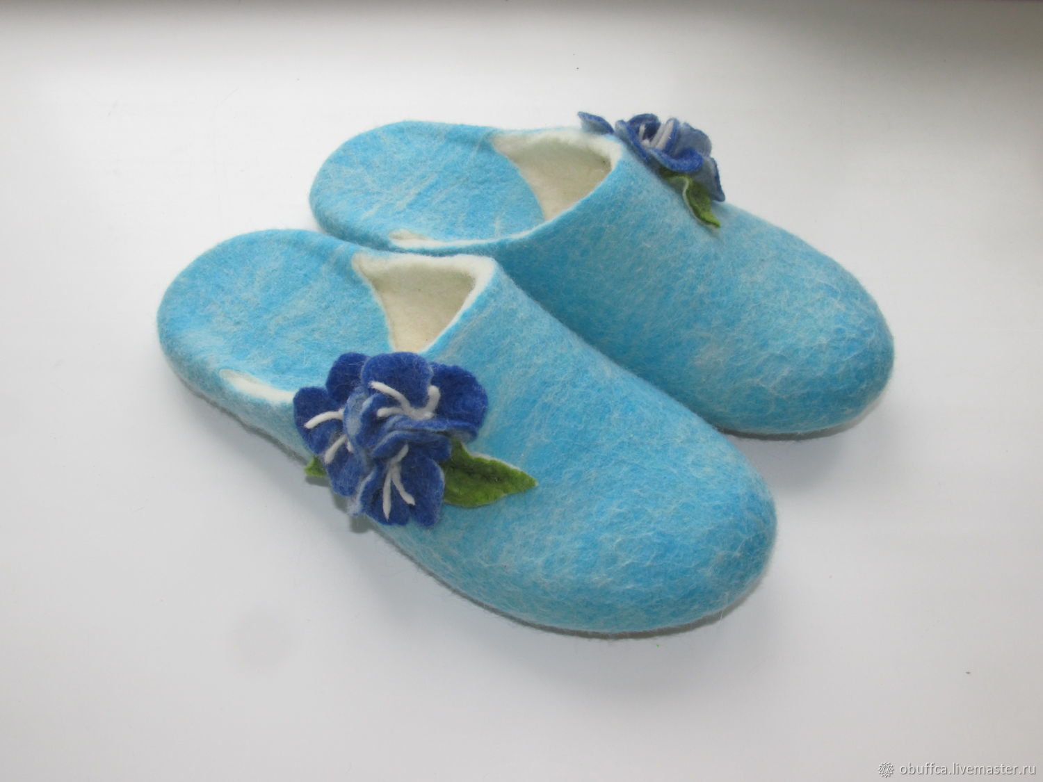 Women's Slippers cornflower felted home with leather prevention, Slippers, Kazan,  Фото №1