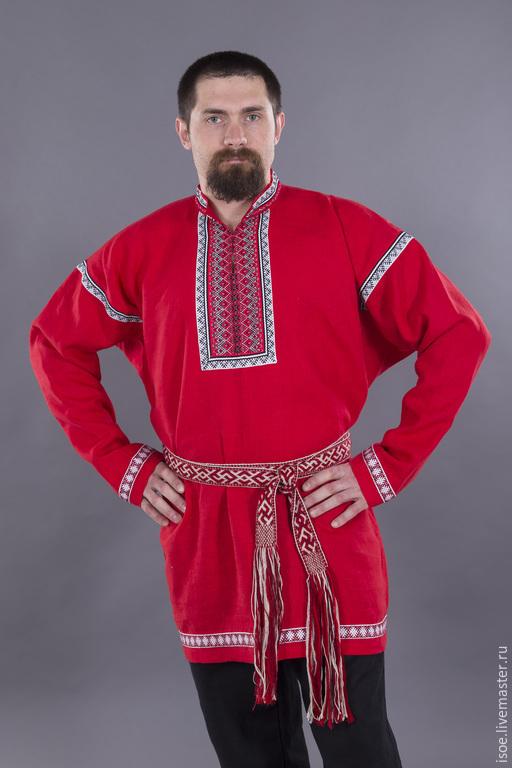Одежда ручной работы. Ярмарка Мастеров - ручная работа. Купить Рубаха славянская мужская праздничная (красный лен). Handmade.