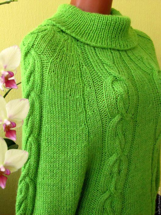 Кофты и свитера ручной работы. Ярмарка Мастеров - ручная работа. Купить Пуловер ручной работы цвета зеленого яблока.. Handmade.