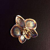Украшения ручной работы. Ярмарка Мастеров - ручная работа Орхидея фаленопсис,брошь-подвес, живая орхидея, медь,серебрение,патина. Handmade.