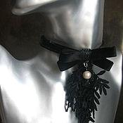 Украшения ручной работы. Ярмарка Мастеров - ручная работа Чокер -колье с подвеской из кружева и бархата. Handmade.