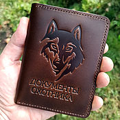 Сумки и аксессуары handmade. Livemaster - original item Cover for hunting documents mod. .2, Wolf buttero. Handmade.