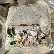 Свадебный салон handmade. Livemaster - original item Bearer Ring Pillow, Personalized wedding gift, White Orchid Cattleya. Handmade.