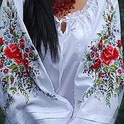 """Одежда ручной работы. Ярмарка Мастеров - ручная работа Нарядная белая блуза """"Цветочная новелла"""" ручная вышивка гладью. Handmade."""