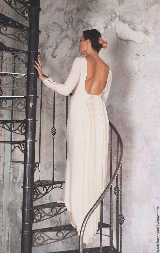 Одежда и аксессуары ручной работы. Ярмарка Мастеров - ручная работа. Купить Платье свадебное. Handmade. Белый, платье с открытой спиной