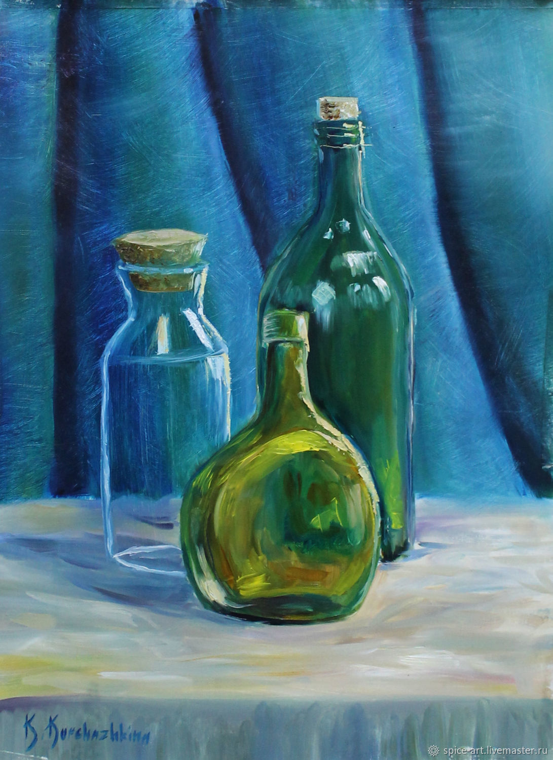 Oil painting still life with bottles. 30h40cm, kitchen – shop online ...