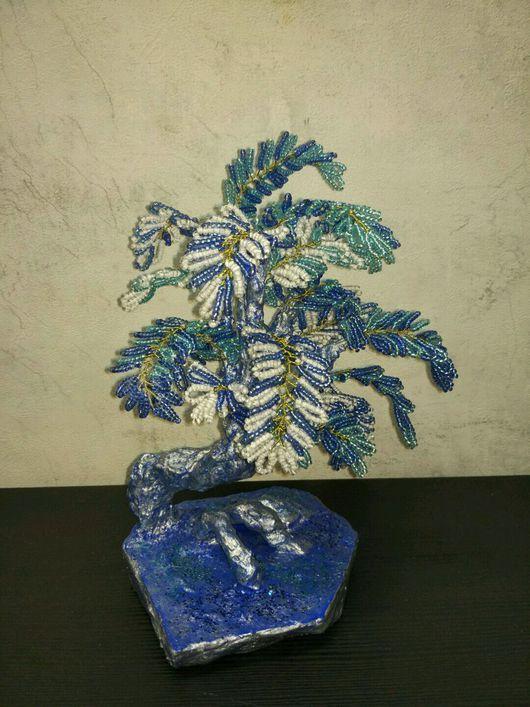 Элементы интерьера ручной работы. Ярмарка Мастеров - ручная работа. Купить Winter Blue Tree. Handmade. Дерево из бисера, подарки
