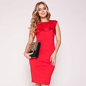 Одежда ручной работы. Ярмарка Мастеров - ручная работа Платье с воланом красное 37232. Handmade.