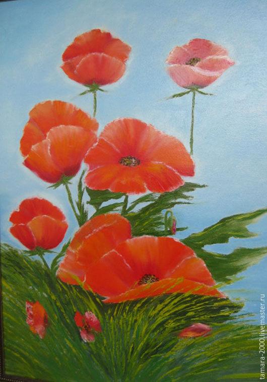 Картины цветов ручной работы. Ярмарка Мастеров - ручная работа. Купить Картина маслом Маки в траве  50х70. Handmade.