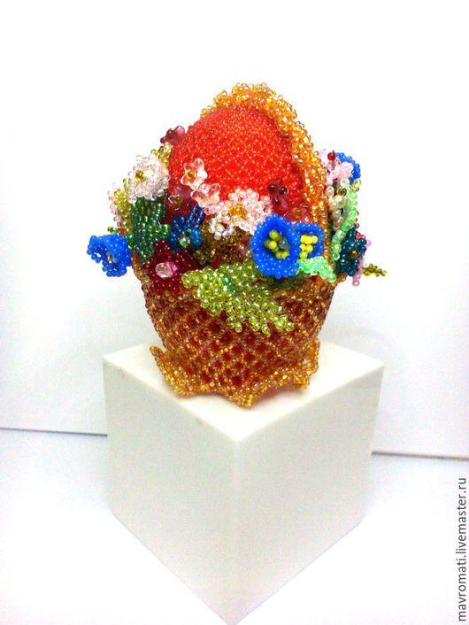 """Яйца ручной работы. Ярмарка Мастеров - ручная работа. Купить Яйцо сувенирное  """" Корзиночка с цветами"""". Handmade. Яйцо, подарок"""