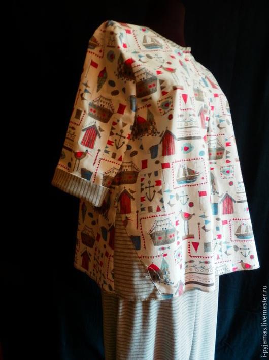 Белье ручной работы. Ярмарка Мастеров - ручная работа. Купить Пижама серая полоска и домики. Handmade. Пижама, nighty