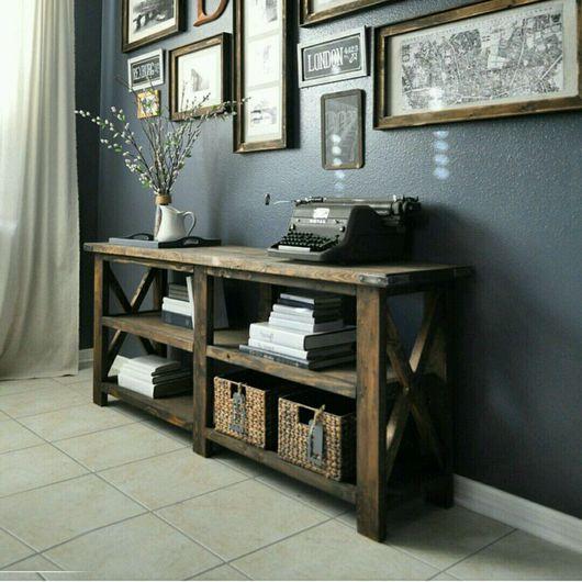 Мебель ручной работы. Ярмарка Мастеров - ручная работа. Купить Консольный стол из массива с полочками Верея. Handmade. Стол