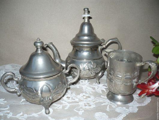 Винтажная посуда. Ярмарка Мастеров - ручная работа. Купить Посуда набор: чайник, сахарница, молочник-3 шт. Антикварный,. Handmade.
