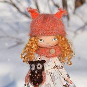 Куклы и игрушки ручной работы. Ярмарка Мастеров - ручная работа Текстильная кукла Девочка и сова. Handmade.