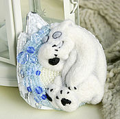 Украшения handmade. Livemaster - original item White bear brooch-Umka in an ice den. Handmade.