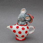 Подарки к праздникам handmade. Livemaster - original item Mouse in teapot. Porcelain figurine. Handmade.