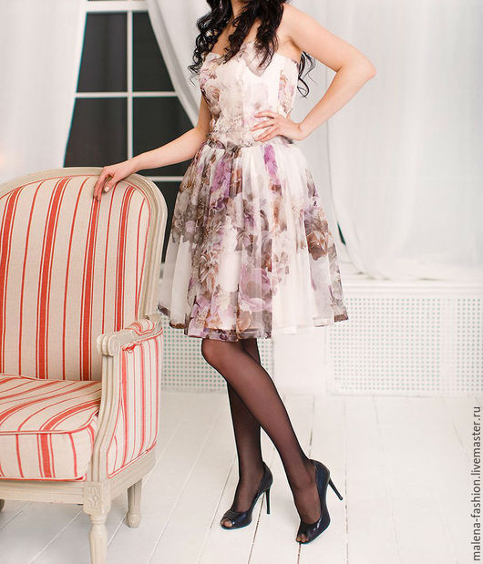 Платья ручной работы. Ярмарка Мастеров - ручная работа. Купить Платье из органзы. Handmade. Комбинированный, платье от дизайнера, платье повседневное