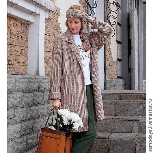 Верхняя одежда ручной работы. Ярмарка Мастеров - ручная работа. Купить Пальто вязаное. Handmade. Серый, кардиган вязаный