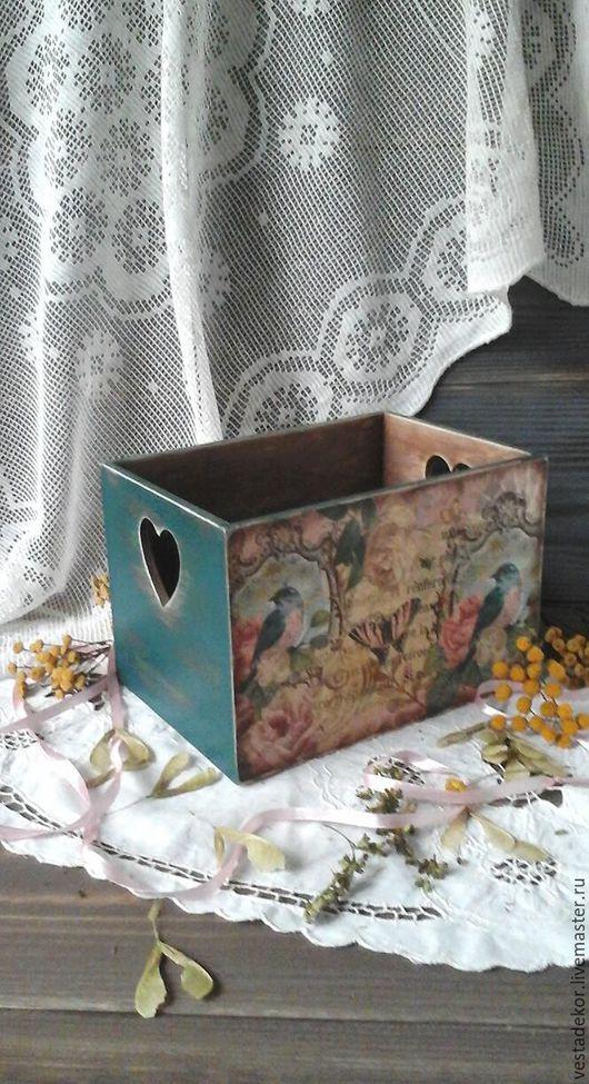 Корзины, коробы ручной работы. Ярмарка Мастеров - ручная работа. Купить Короб для хранения Птицы,бабочки и розы в винтажном стиле. Handmade.