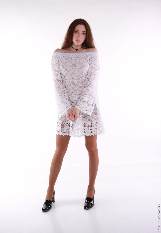 Белая кружевная туника блузка платье оверсайз с открытыми плечами – купить в интернет-магазине на Ярмарке Мастеров с доставкой