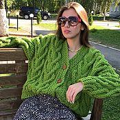 Одежда handmade. Livemaster - original item cardigans: Women`s knitted cardigan oversized grass color. Handmade.