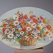 Картины и панно handmade. Livemaster - original item Oil painting, panel. A bouquet of daisies and poppies .oil, canvas .. Handmade.