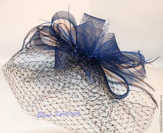 """Диадемы, обручи ручной работы. Ярмарка Мастеров - ручная работа. Купить Вечерняя шляпка-вуалетка """"Нолла"""". Handmade. Тёмно-синий"""
