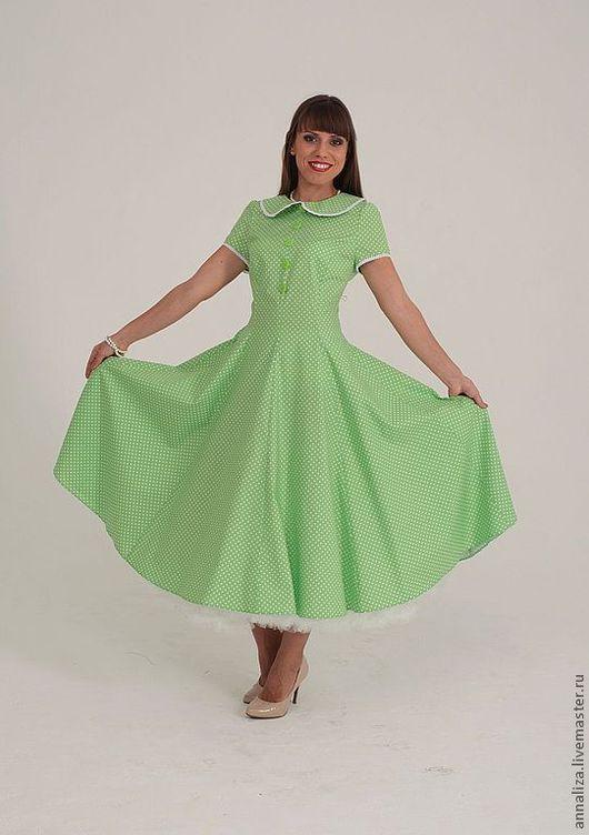 """Платья ручной работы. Ярмарка Мастеров - ручная работа. Купить Ретро платье """"Питер Пэн"""". Handmade. Ярко-зелёный"""