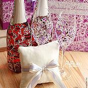 """Свадебный салон ручной работы. Ярмарка Мастеров - ручная работа Декор бутылок """"Лаванда и совы"""". Handmade."""