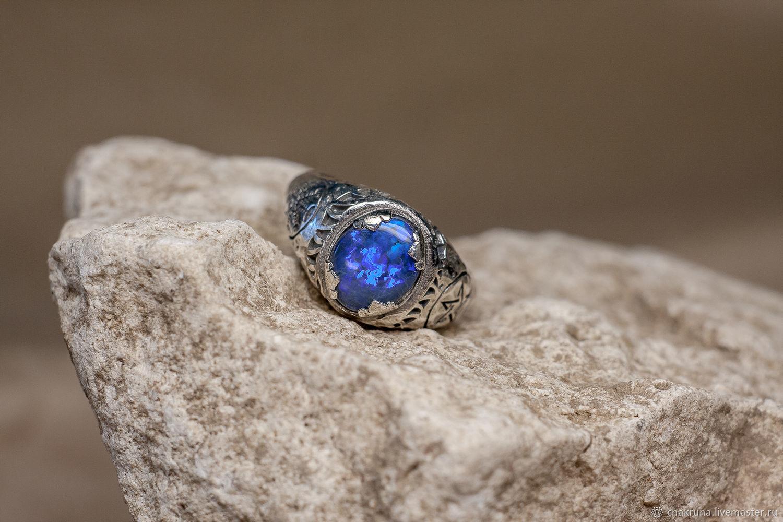Silver Fafnir ring with Australian black opal, Rings, Moscow,  Фото №1