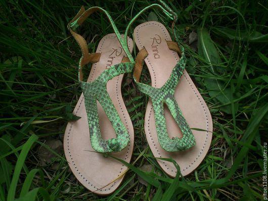 Обувь ручной работы. Ярмарка Мастеров - ручная работа. Купить Сандалии из кожи питона Vica. Handmade. Сандалии, сандалии из кожи