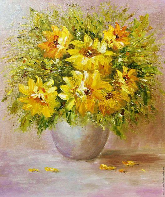 Картины цветов ручной работы. Ярмарка Мастеров - ручная работа. Купить Аромат солнца (25х30 см., масло). Handmade. Желтый