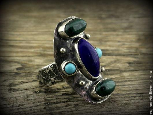 """Кольца ручной работы. Ярмарка Мастеров - ручная работа. Купить """"Танец Кетцалькоатля"""" серебряное кольцо. Handmade. Разноцветный, кольцо с бирюзой"""
