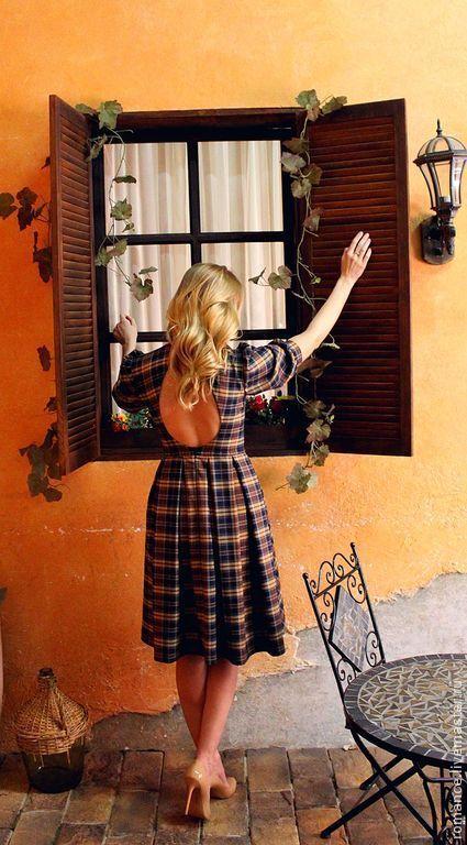 Платья ручной работы. Ярмарка Мастеров - ручная работа. Купить Шотландское платье. Handmade. Коричневый, шотландка, вырез на спине, лён