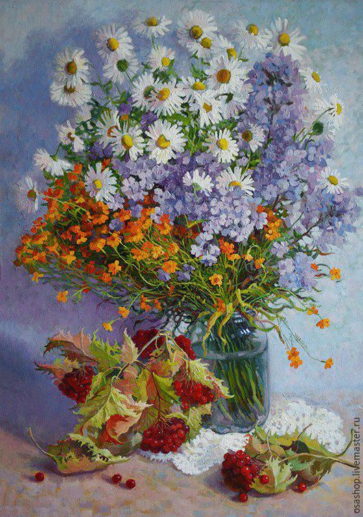 Яркие краски осени (бархатцы,ромашки,калина)Цветы-совершенное искусство природы,в дополнение -веточки калины и тепло золотой осени.Картина для интерьера,картина в подарок.