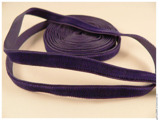 Шитье ручной работы. Ярмарка Мастеров - ручная работа. Купить Бархатная лента синяя 10 мм.. Handmade. Тёмно-синий