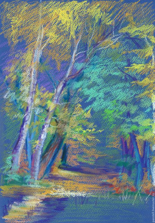 Пейзаж ручной работы. Ярмарка Мастеров - ручная работа. Купить Картина пастелью Осенний этюд. Handmade. Оранжевый, синий, картина