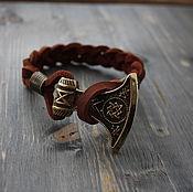Украшения handmade. Livemaster - original item leather bracelet with axe of Perun ,bracelet Perun ,the Slavic bracelet ,. Handmade.