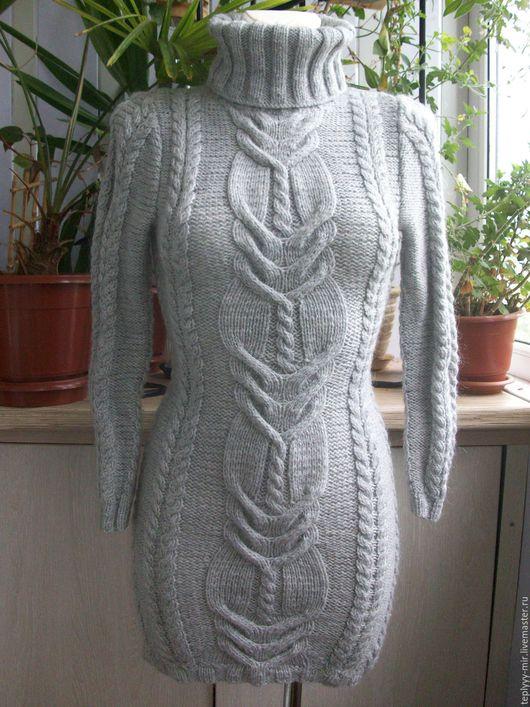 Платья ручной работы. Ярмарка Мастеров - ручная работа. Купить Платье вязаное. Handmade. Серый, платье теплое, платье облегающее