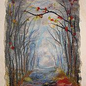"""Картины и панно ручной работы. Ярмарка Мастеров - ручная работа """"Дорога к Зиме""""  войлочная картина. Handmade."""